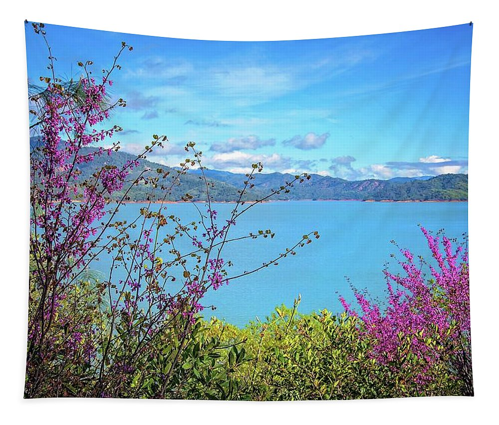 Shasta Lake Tapestry featuring the photograph Redbud Beauty Along The Shore Of Shasta Lake by Lynn Bauer