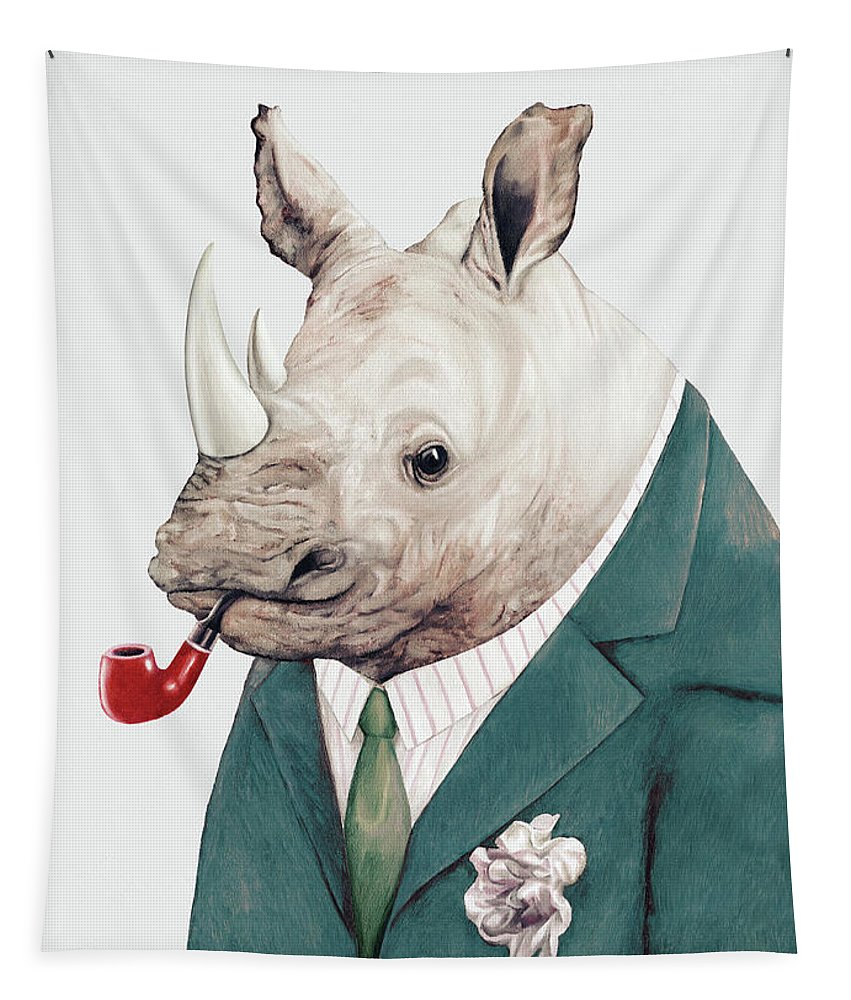 Rhino Tapestry featuring the painting Rhino in Teal by Animal Crew
