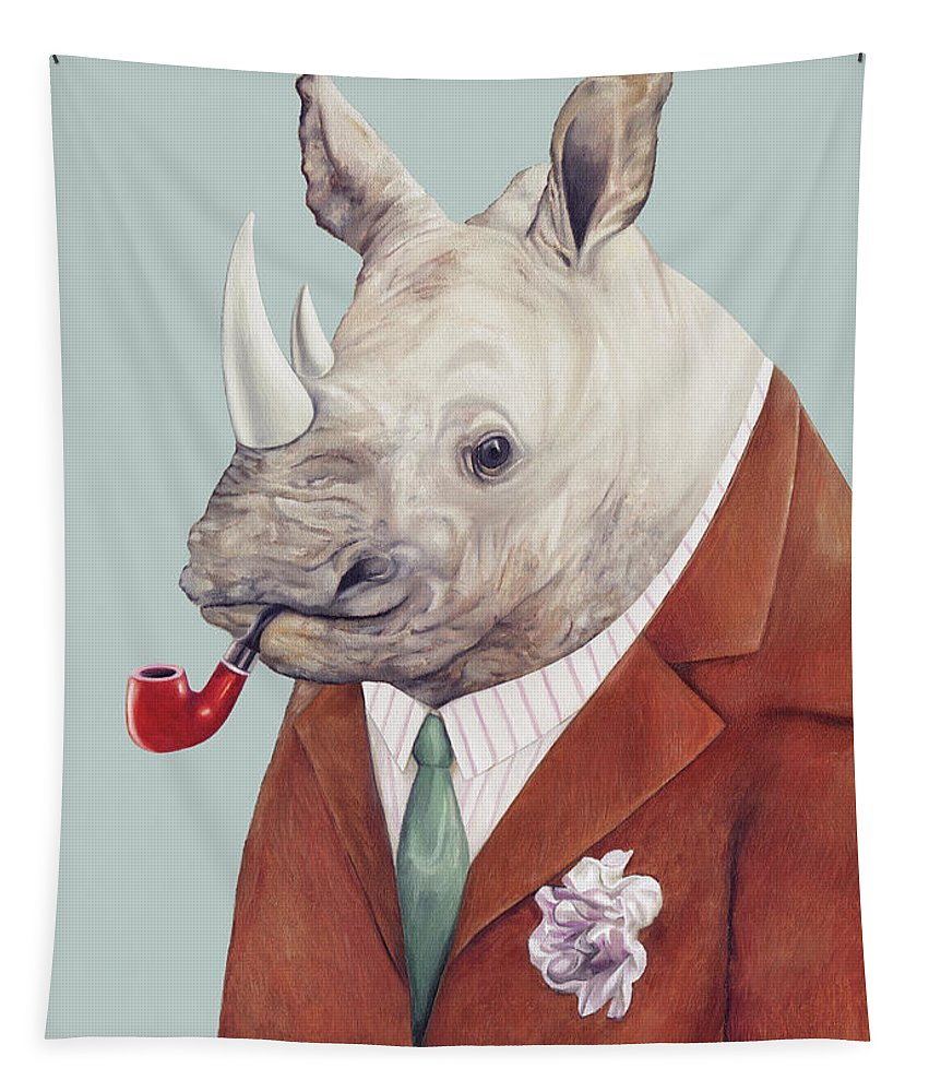 Rhino Tapestry featuring the painting Rhinoceros by Animal Crew