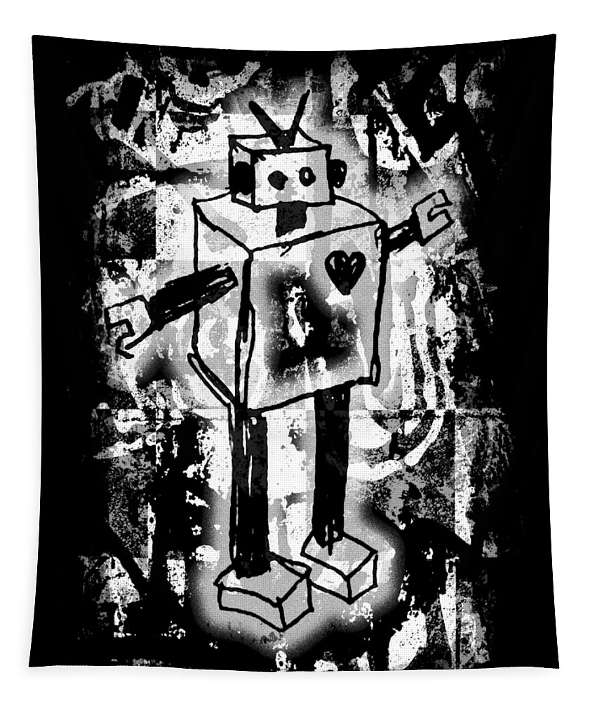 Robot Tapestry featuring the digital art Robot Graffiti Graphic by Roseanne Jones