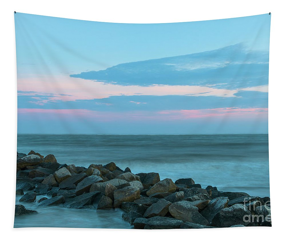 Beach Tapestry featuring the photograph Rocky Shores Sunrise by Dale Powell