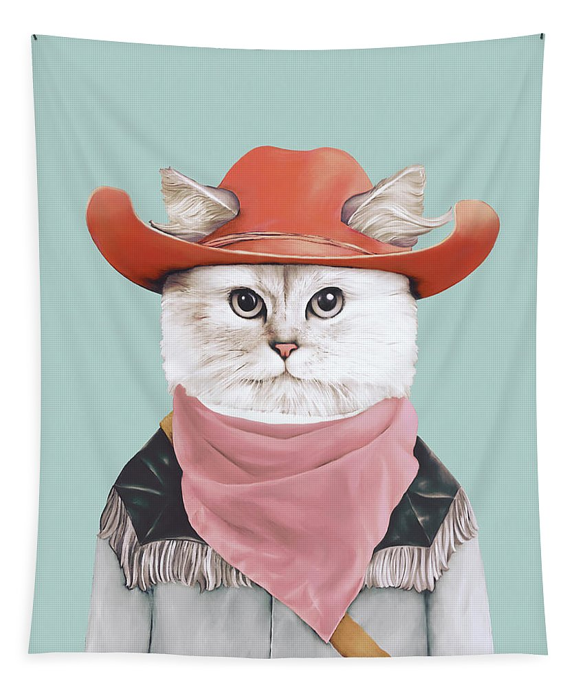 Rodeo Cat Tapestry featuring the painting Rodeo Cat by Animal Crew