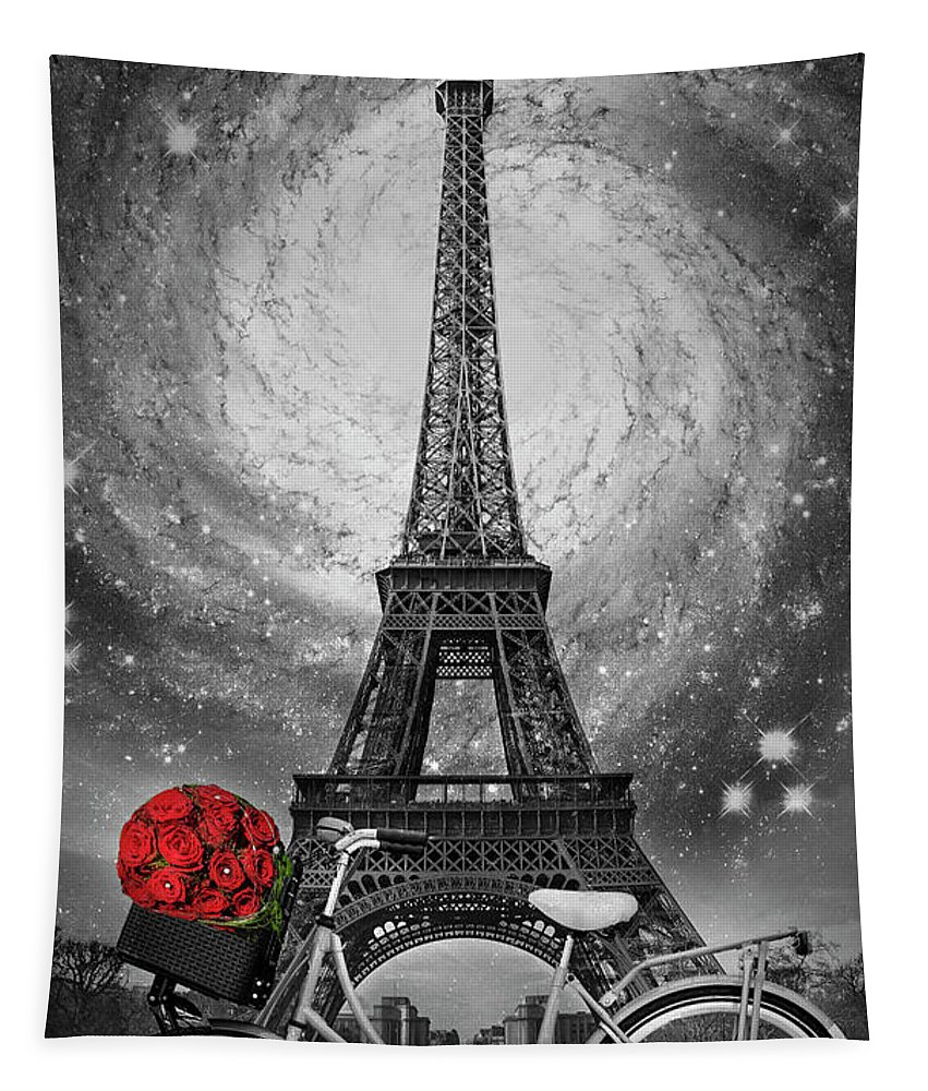 01_geographie Tapestry featuring the photograph Romance At The Eiffel Tower by Debra and Dave Vanderlaan
