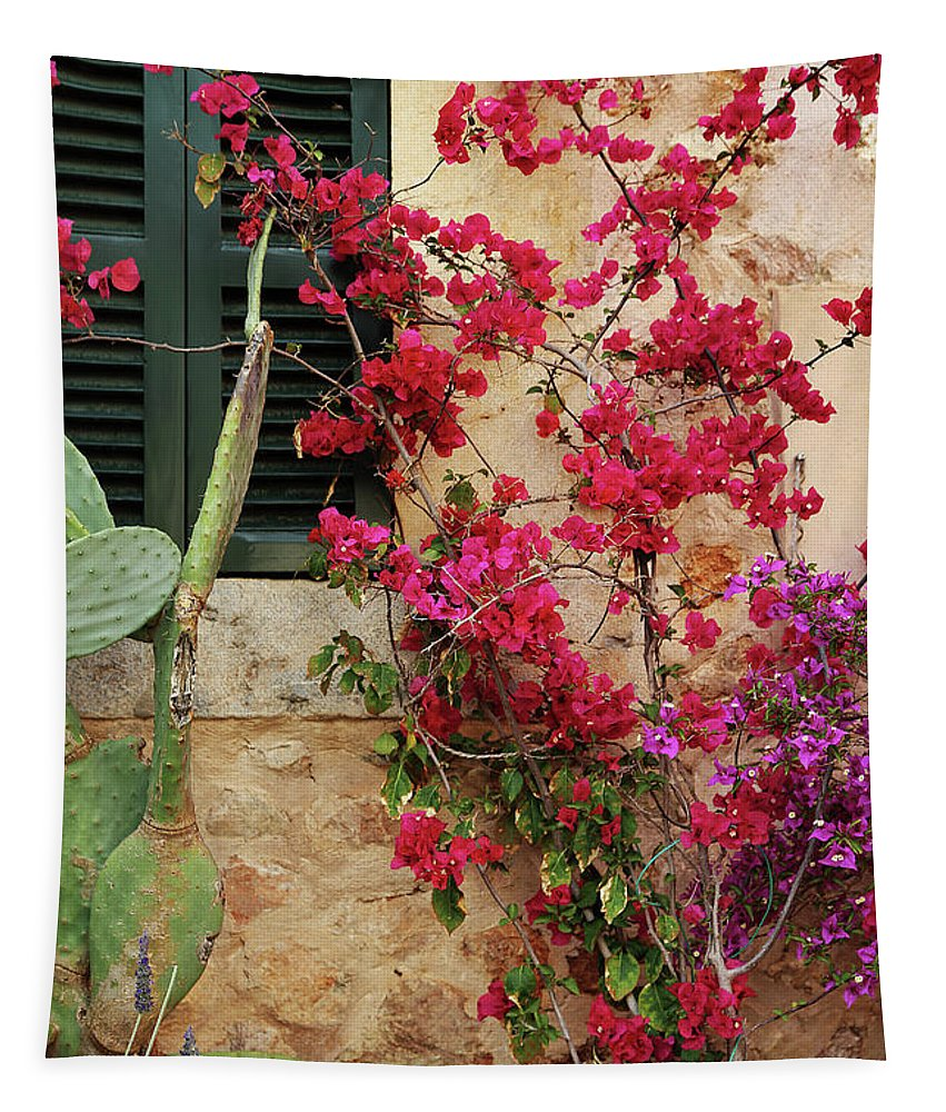 Village Tapestry featuring the photograph Rustic Life - Flowers by Catalina Lira