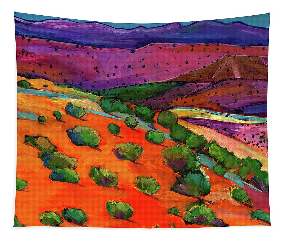 New Mexico Tapestry featuring the painting Sage Slopes by Johnathan Harris