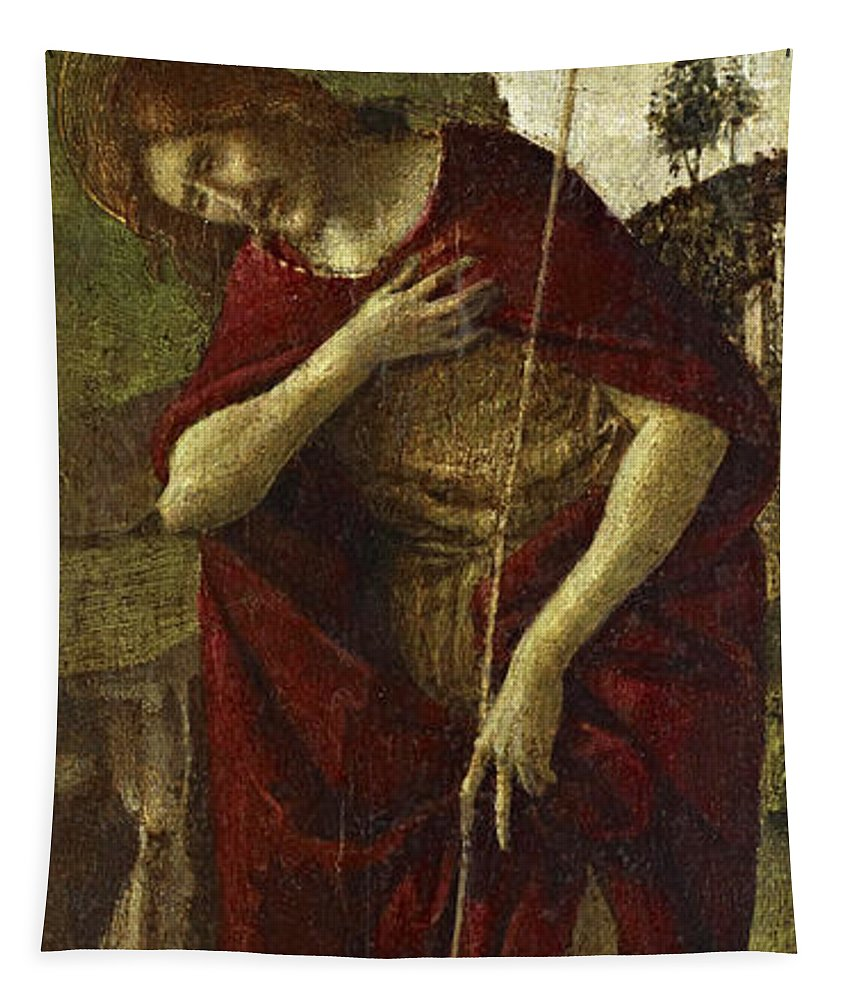 Sandro Botticelli Tapestry featuring the painting Saint John The Baptist by Sandro Botticelli