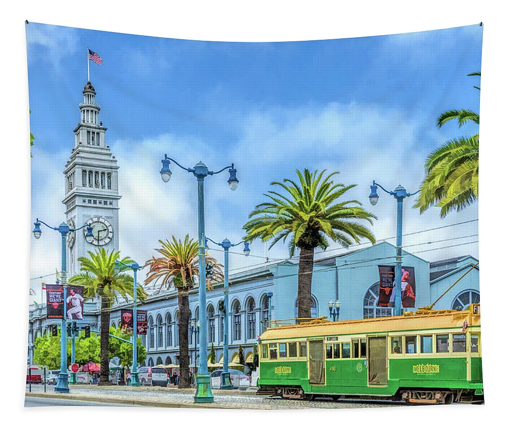 San Francisco Tapestry featuring the painting San Francisco Ferry Building by Christopher Arndt