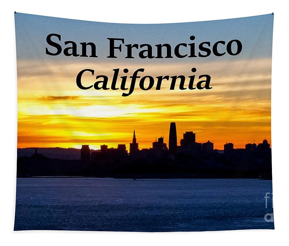 San Francisco Tapestry featuring the photograph San Francisco Sunrise 16x9 by G Matthew Laughton