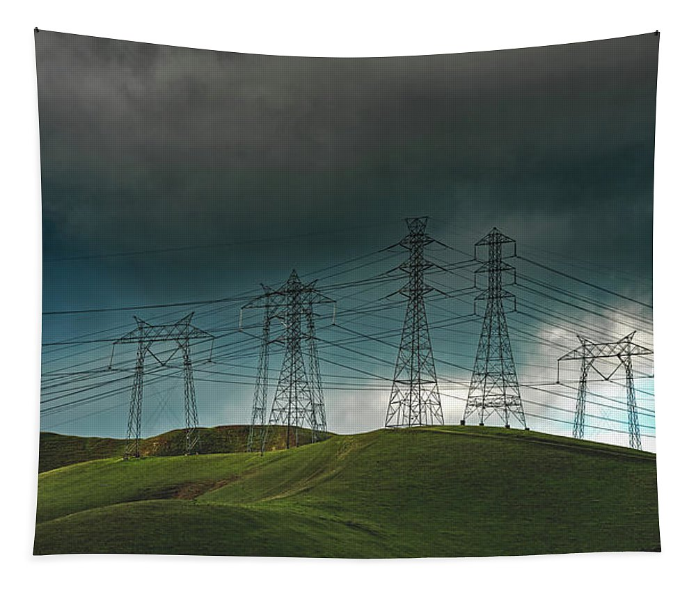 San Joaquin Valley Tapestry featuring the photograph San Joaquin Valley Power Grid by Mountain Dreams