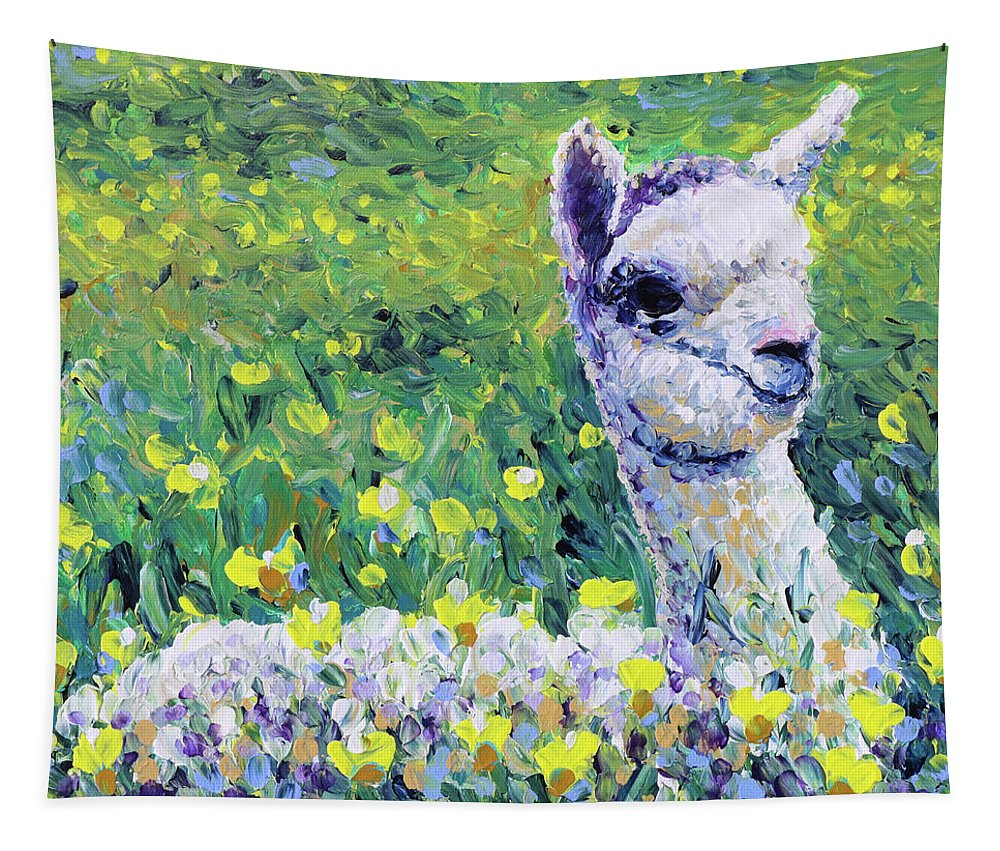 Alpaca Tapestry featuring the painting Sapphire by Bari Rhys