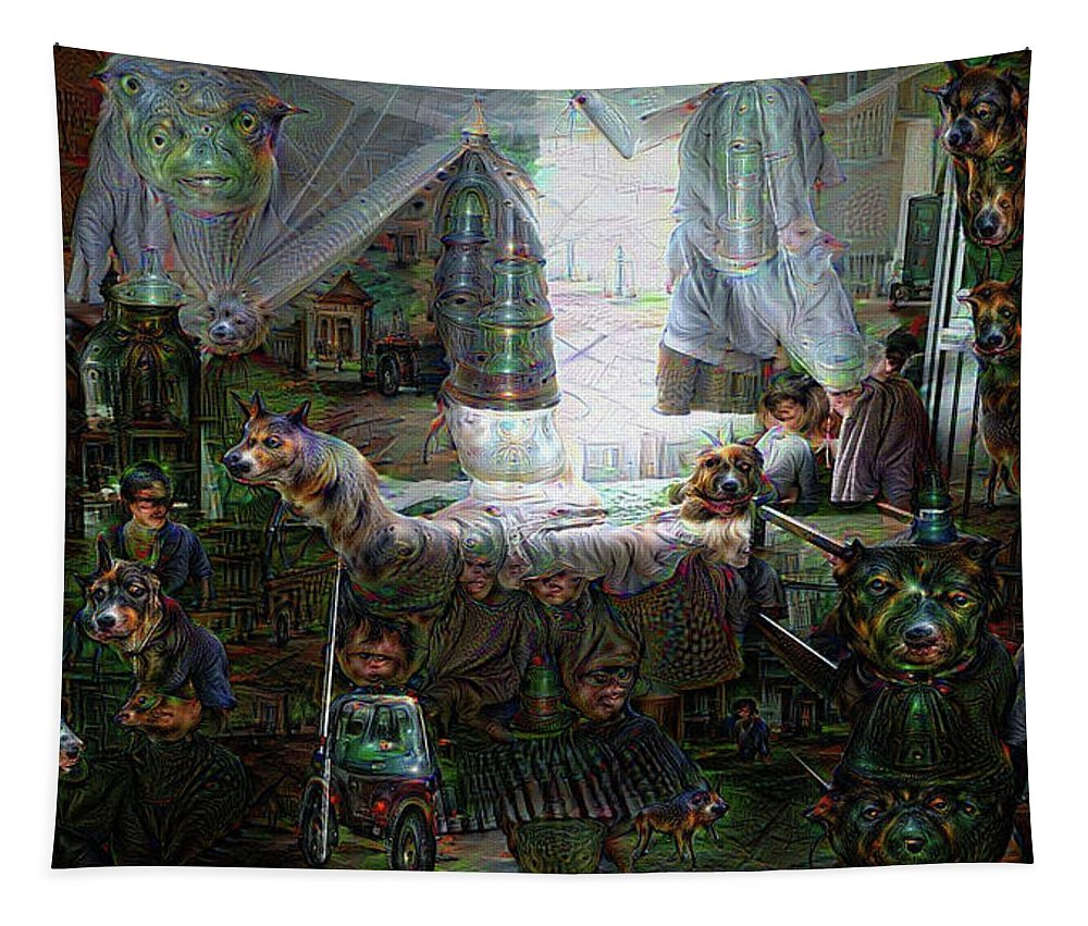 Scary Tapestry featuring the digital art Scary Bedroom Surreal Google Deep Dream by Matthias Hauser