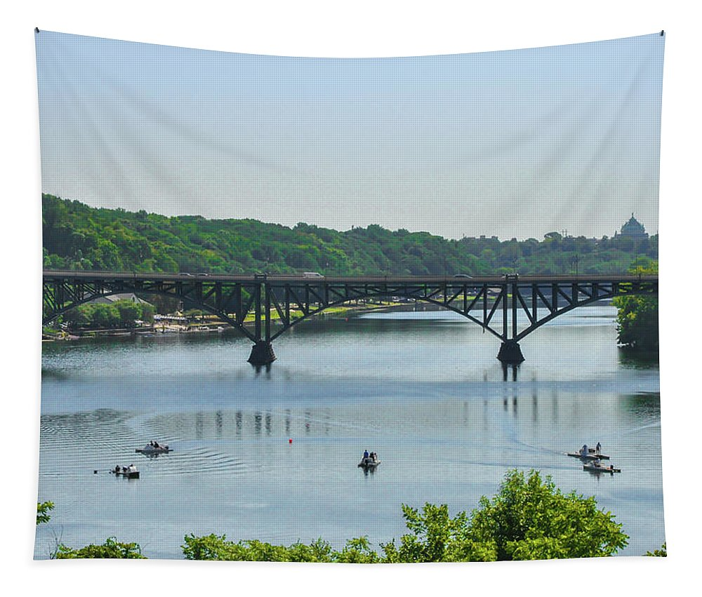 Schuylkill Tapestry featuring the photograph Schuylkill River View - Strawberry Mansion Bridge by Bill Cannon