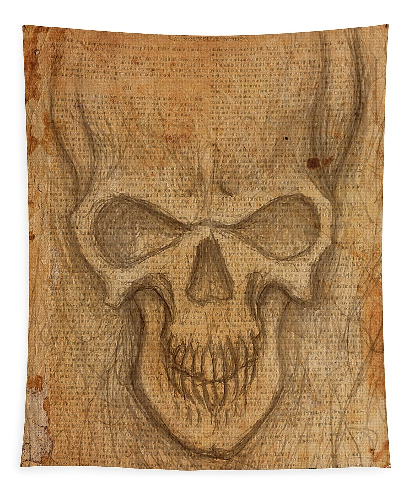 Skull Tapestry featuring the drawing Scratch Skull by Shawn Dooley