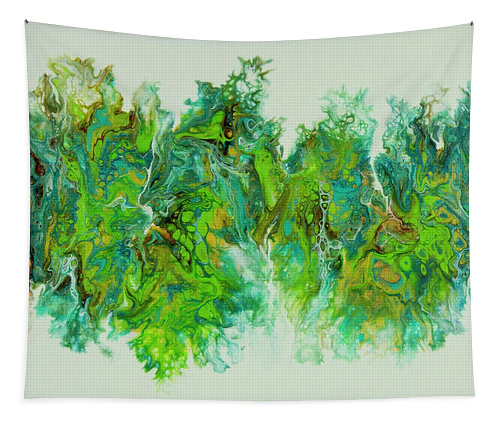 Poured Acrylic Tapestry featuring the painting Sea Lettuce Creature by Lucy Arnold