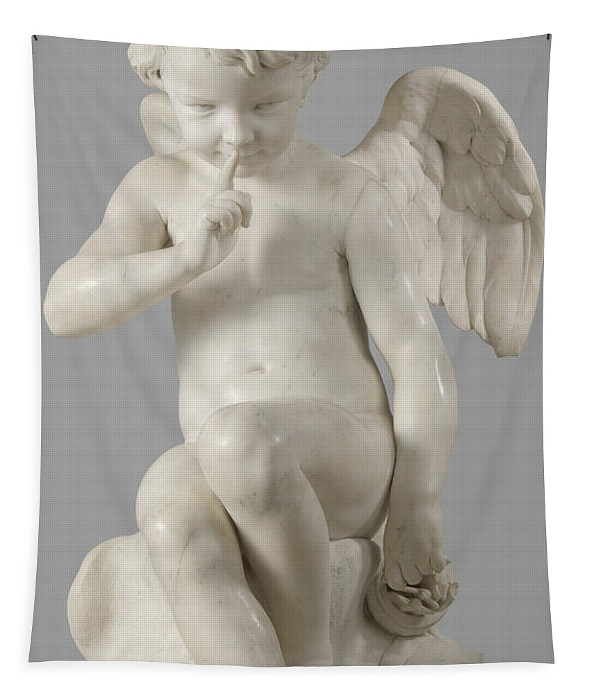 Seated Cupid Tapestry featuring the sculpture Seated Cupid, 1757 Marble by Etienne-Maurice Falconet