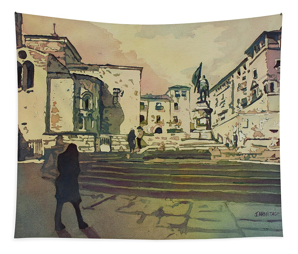 Segovia Tapestry featuring the painting Segovia Monument by Jenny Armitage