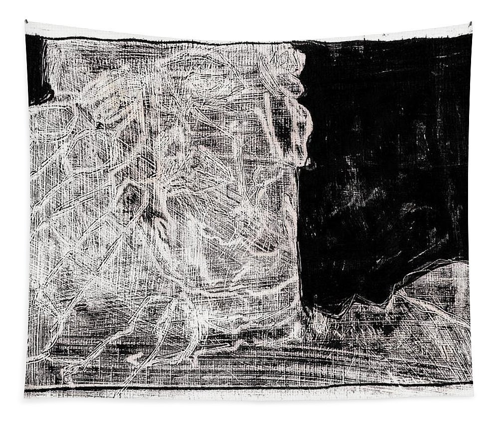 Black Tapestry featuring the painting Self In Black Coloured Oil Transfer Drawing 11 by Artist Dot