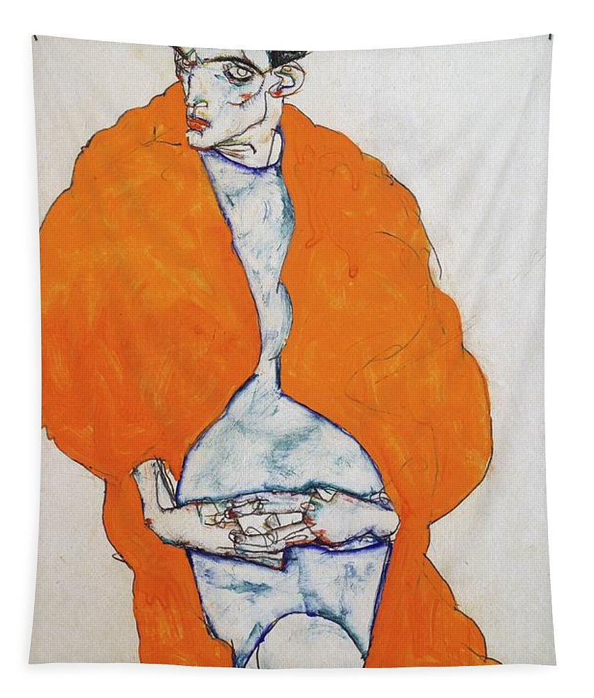 Egon Tapestry featuring the painting Self Portrait, 1914 Pencil And Gouache By Egon Schiele by Egon Schiele