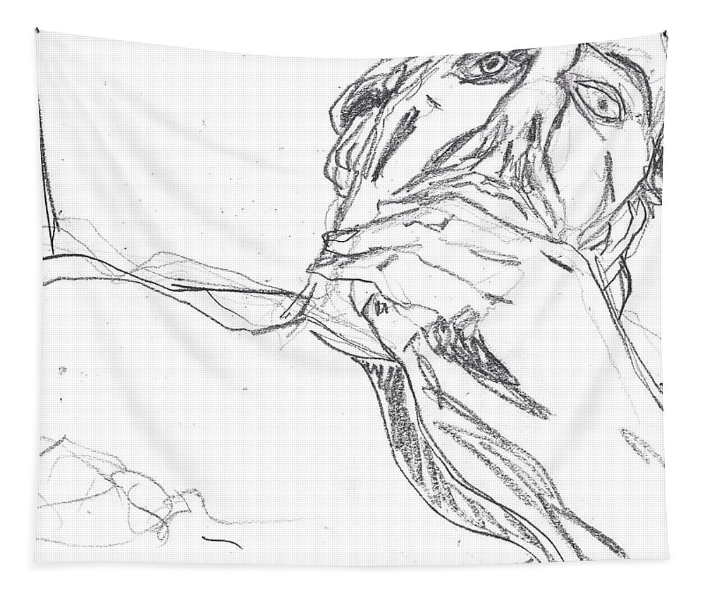 Portrait Tapestry featuring the drawing Self-portrait Pencil Reach 2 by Artist Dot