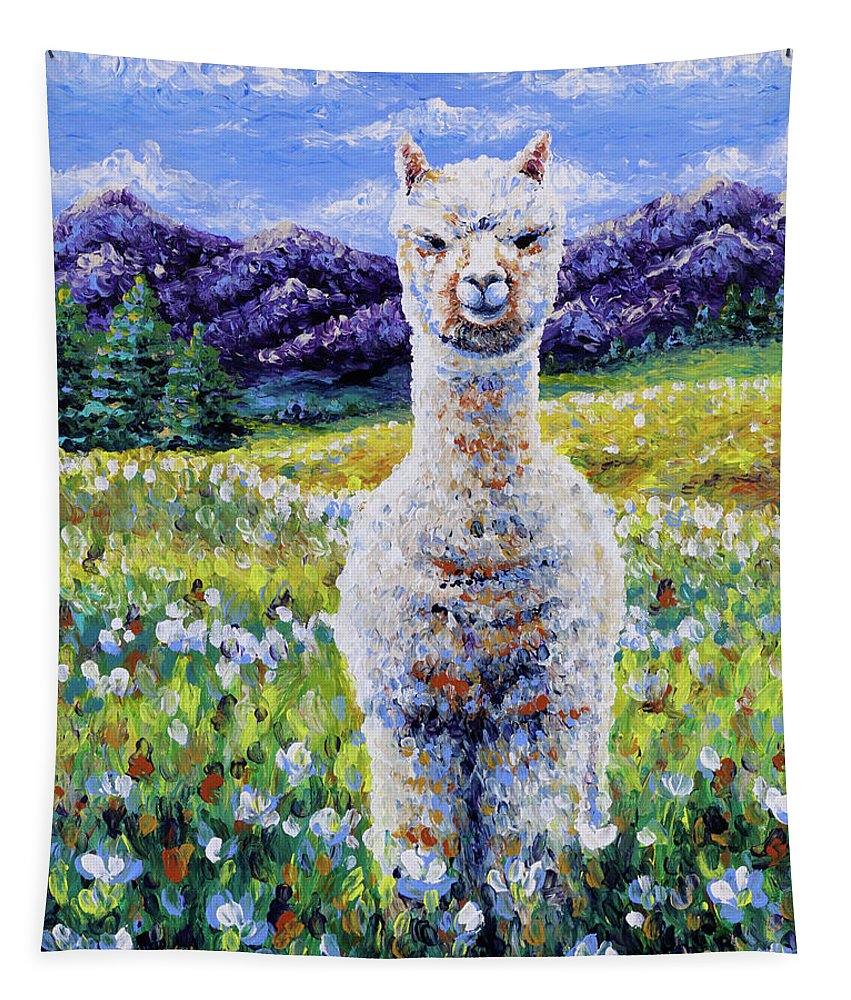 Alpaca Tapestry featuring the painting Sentinel by Bari Rhys