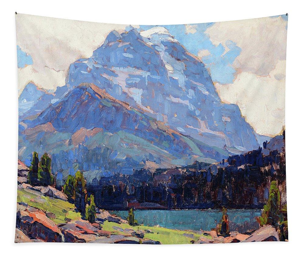 Edgar Payne Tapestry featuring the painting Shadowed Peaks by Edgar Payne