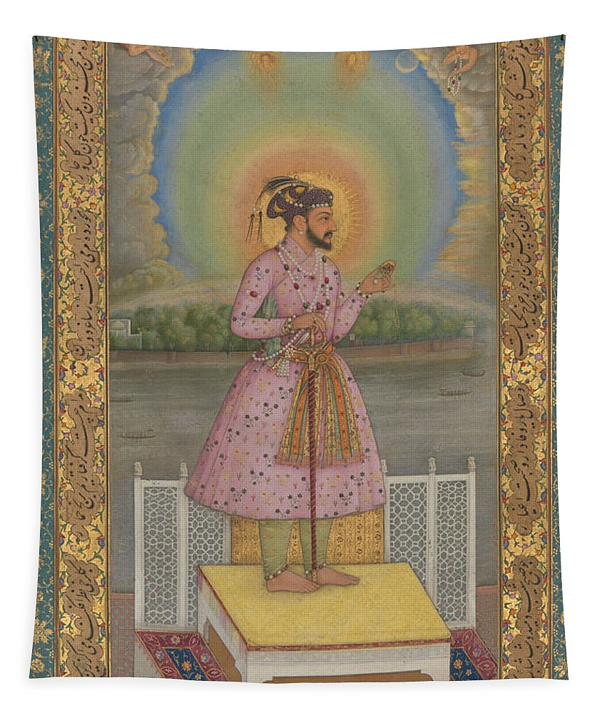 Indian Tapestry featuring the painting Shah Jahan On A Terrace by Chitarman