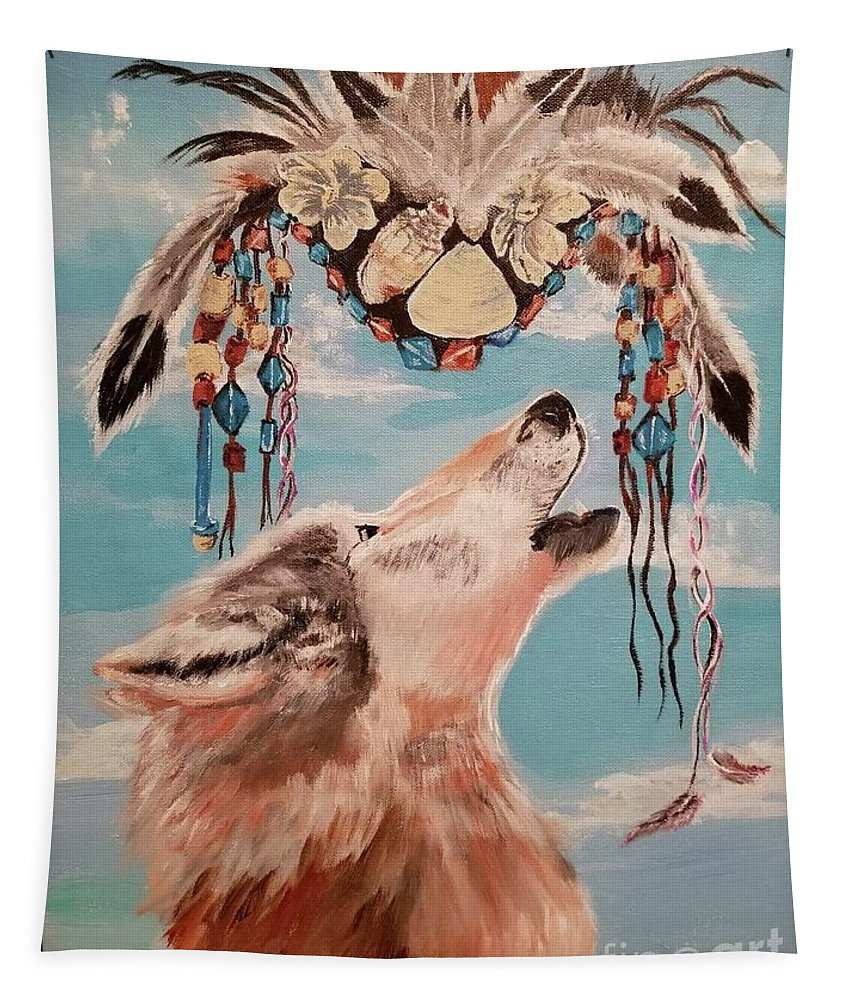 Tapestry featuring the painting Shaman Mask And Wolf by Jill DeFinis