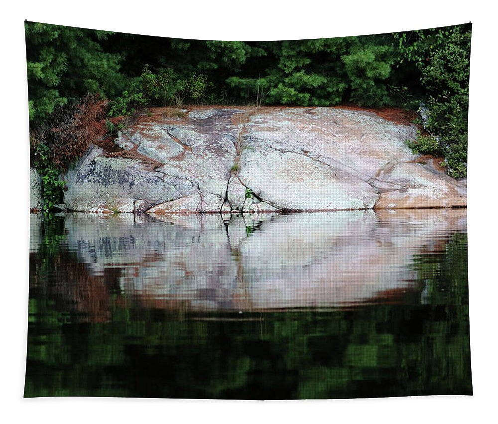 Shawanaga River Tapestry featuring the photograph Shawanaga Rock And Reflections Iv by Debbie Oppermann