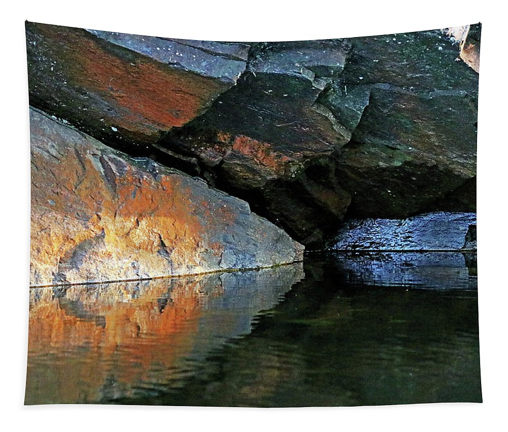 Shawanaga River Tapestry featuring the photograph Shawanaga Rock And Reflections Xi by Debbie Oppermann