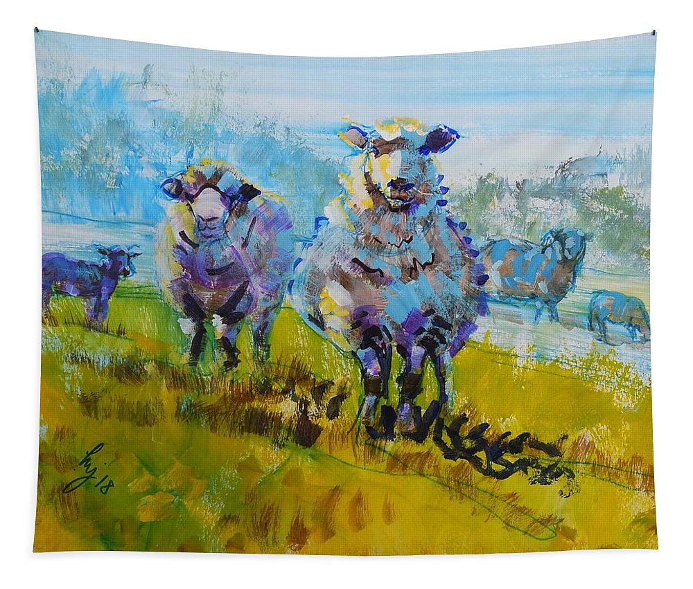 Tapestry featuring the drawing Sheep And Lambs In Bright Sunshine by Mike Jory