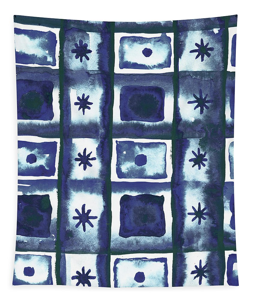 Shibori Tapestry featuring the mixed media Shibori Box Pattern I by Elizabeth Medley