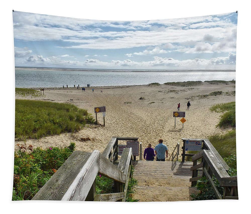 Cape Cod Tapestry featuring the photograph Shoreline Staircase By Uscg Station Chatham Cape Cod Massachusetts by Thomas Woolworth