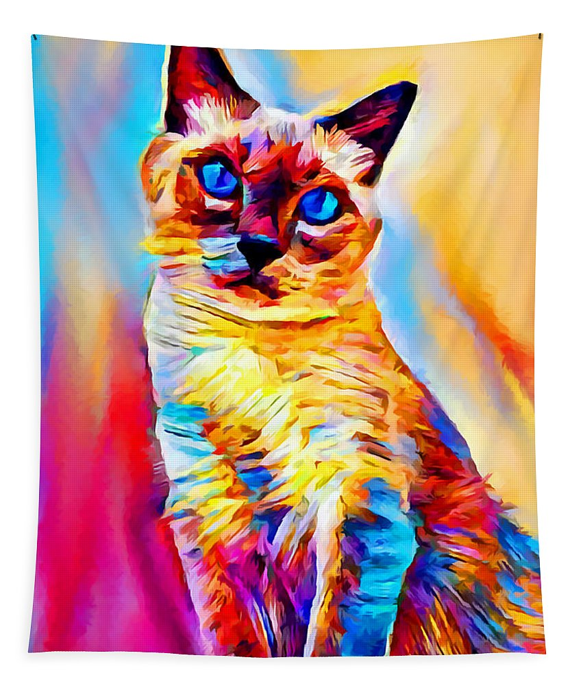 Siamese Cat Tapestry featuring the painting Siamese Cat by Chris Butler