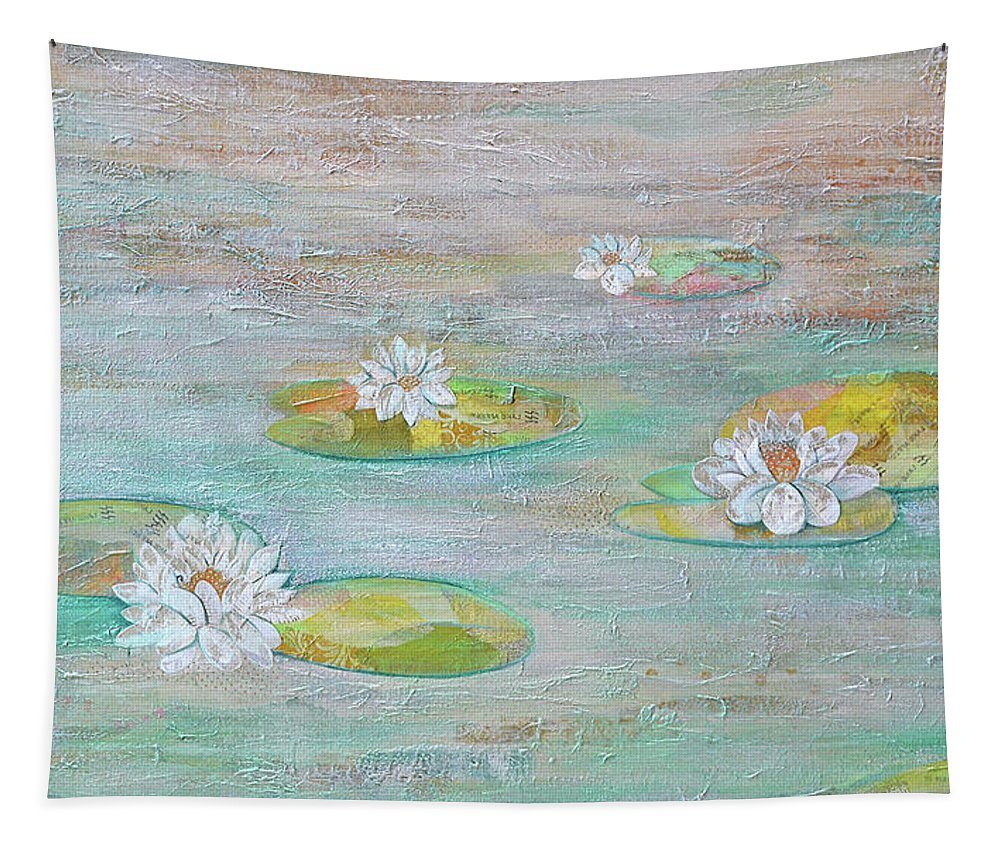 Lotus Flower Tapestry featuring the painting Silent Placidity by Shadia Derbyshire