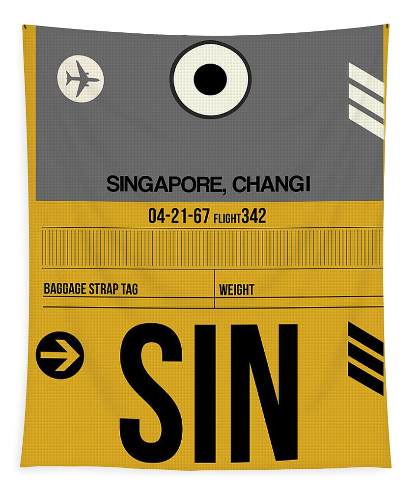 Vacation Tapestry featuring the digital art Sin Singapore Luggage Tag I by Naxart Studio