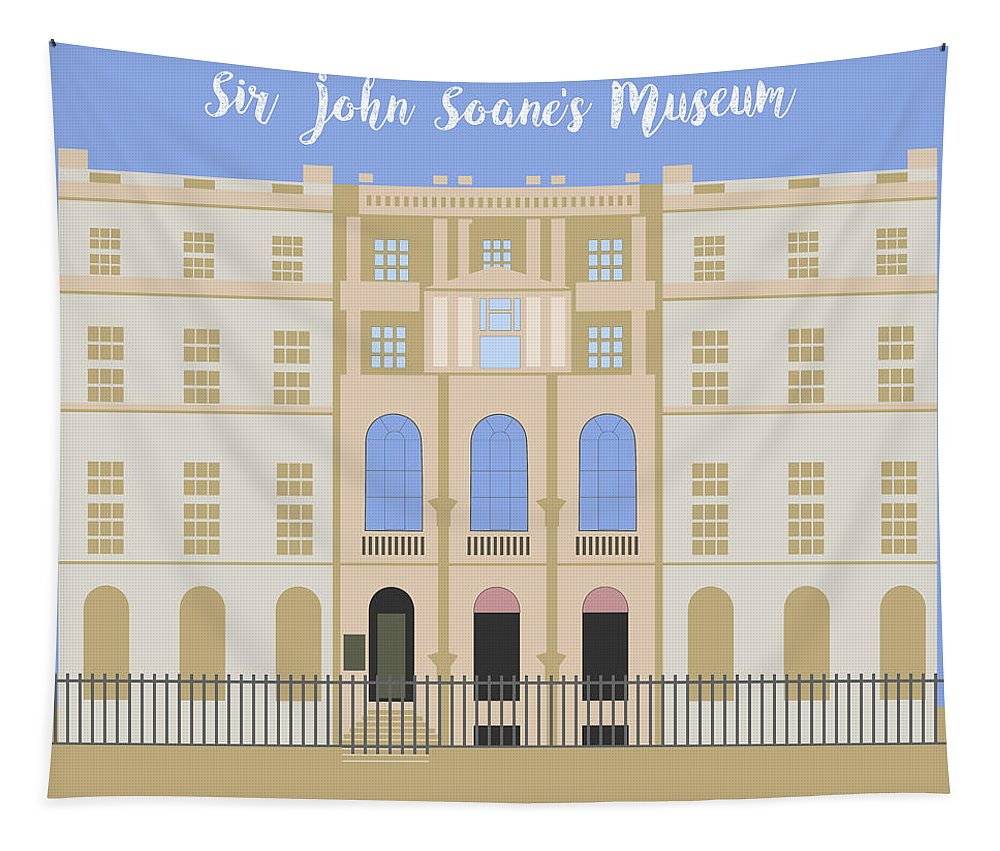 Blue Tapestry featuring the digital art Sir John Soane's Museum by Claire Huntley