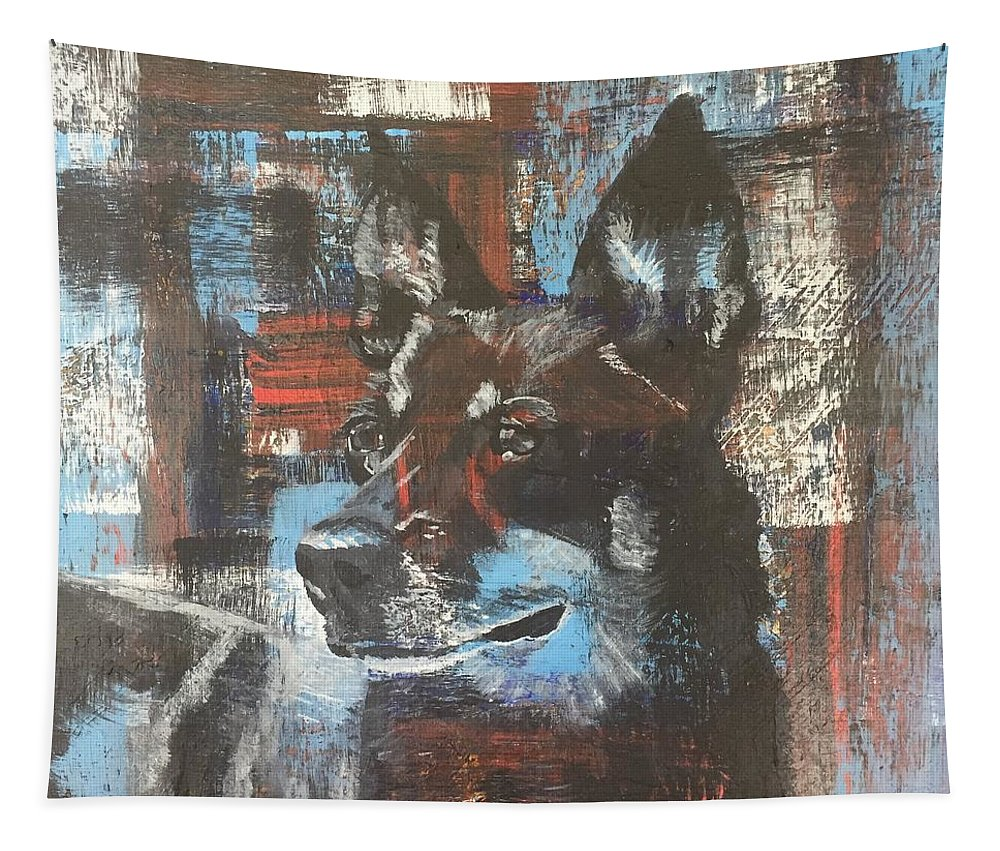 Cowdog Tapestry featuring the painting Skeeter by C Zimmer Art Studio