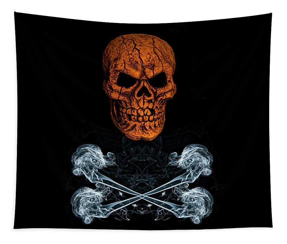 Skull And Crossbones Tapestry featuring the photograph Skull And Crossbones 1 by Steve Purnell