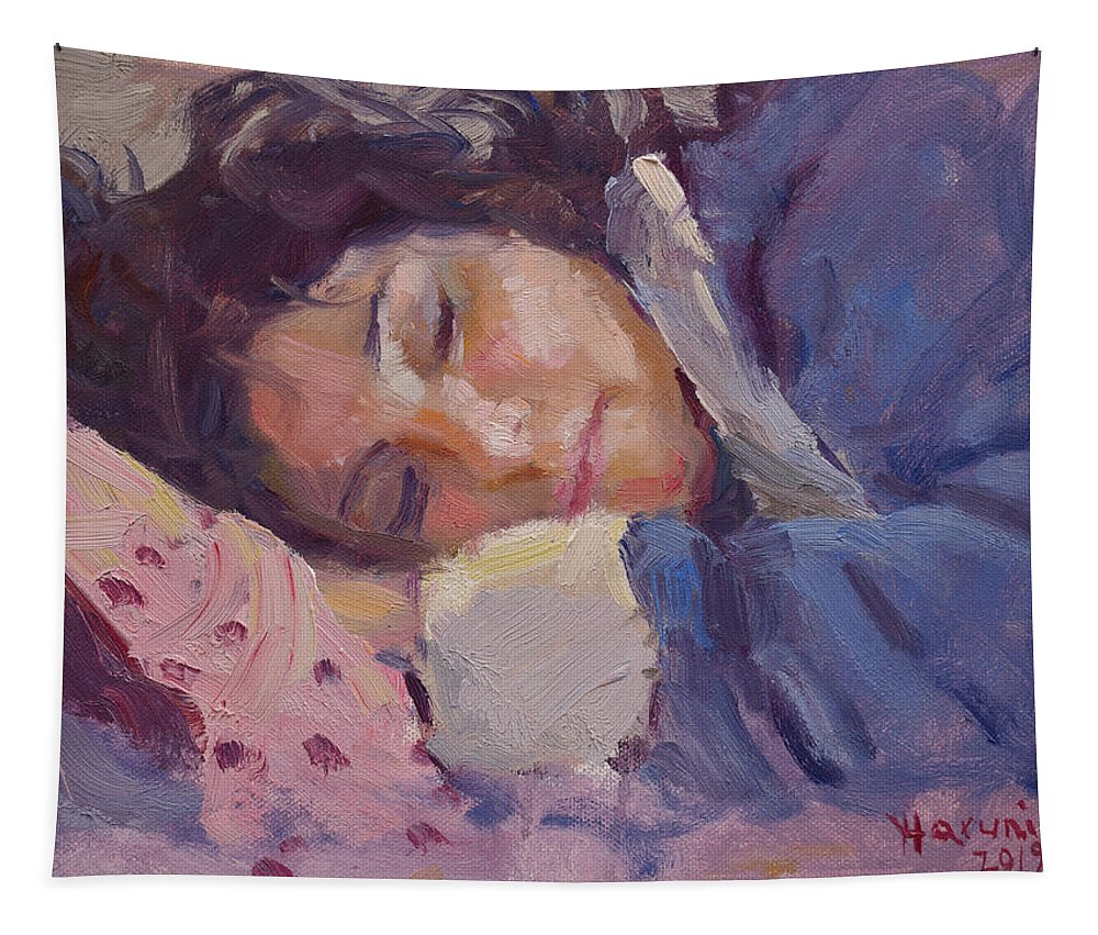 Sleeping Lady Tapestry featuring the painting Sleeping Lady by Ylli Haruni