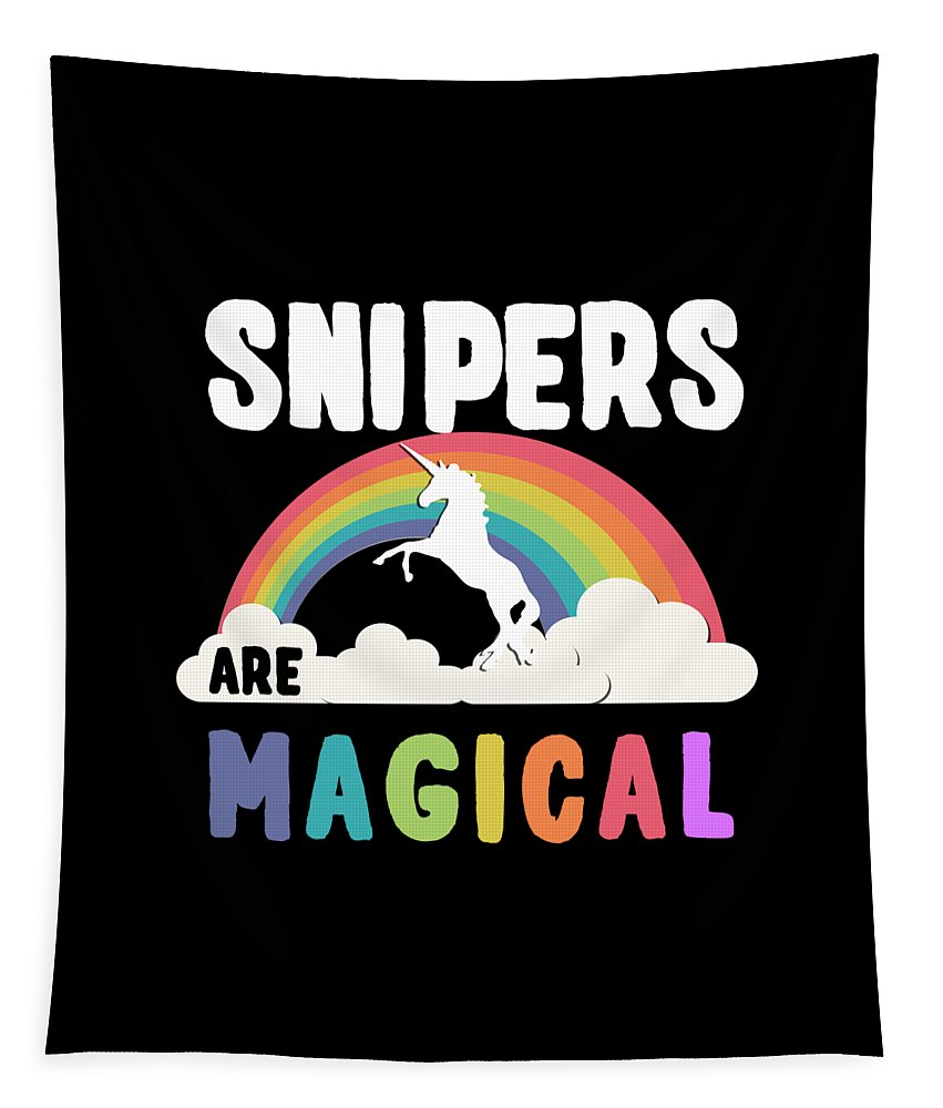 Unicorn Tapestry featuring the digital art Snipers Are Magical by Flippin Sweet Gear