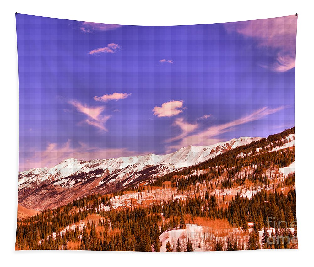 Mountains Tapestry featuring the photograph Snow Covered Mountains by Jeff Swan
