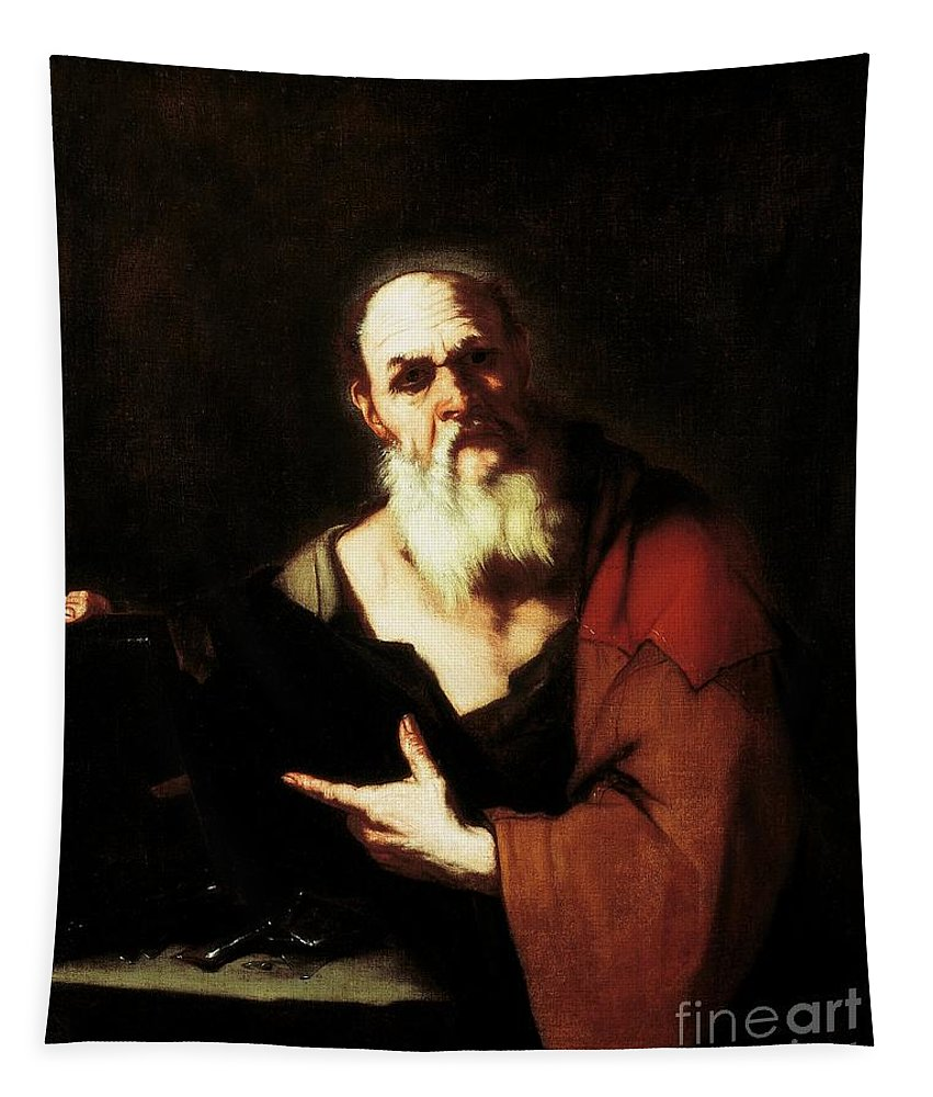 Socrates Tapestry featuring the painting Socrates By Luca Giordano by Luca Giordano