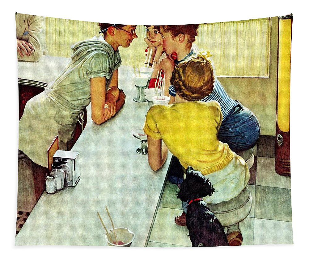 Counterman Tapestry featuring the drawing Soda Jerk by Norman Rockwell