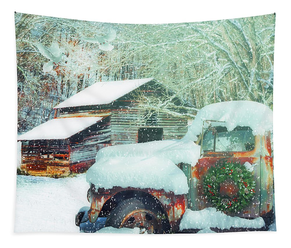 Barn Tapestry featuring the photograph Softly Snowing On The Country Farm by Debra and Dave Vanderlaan