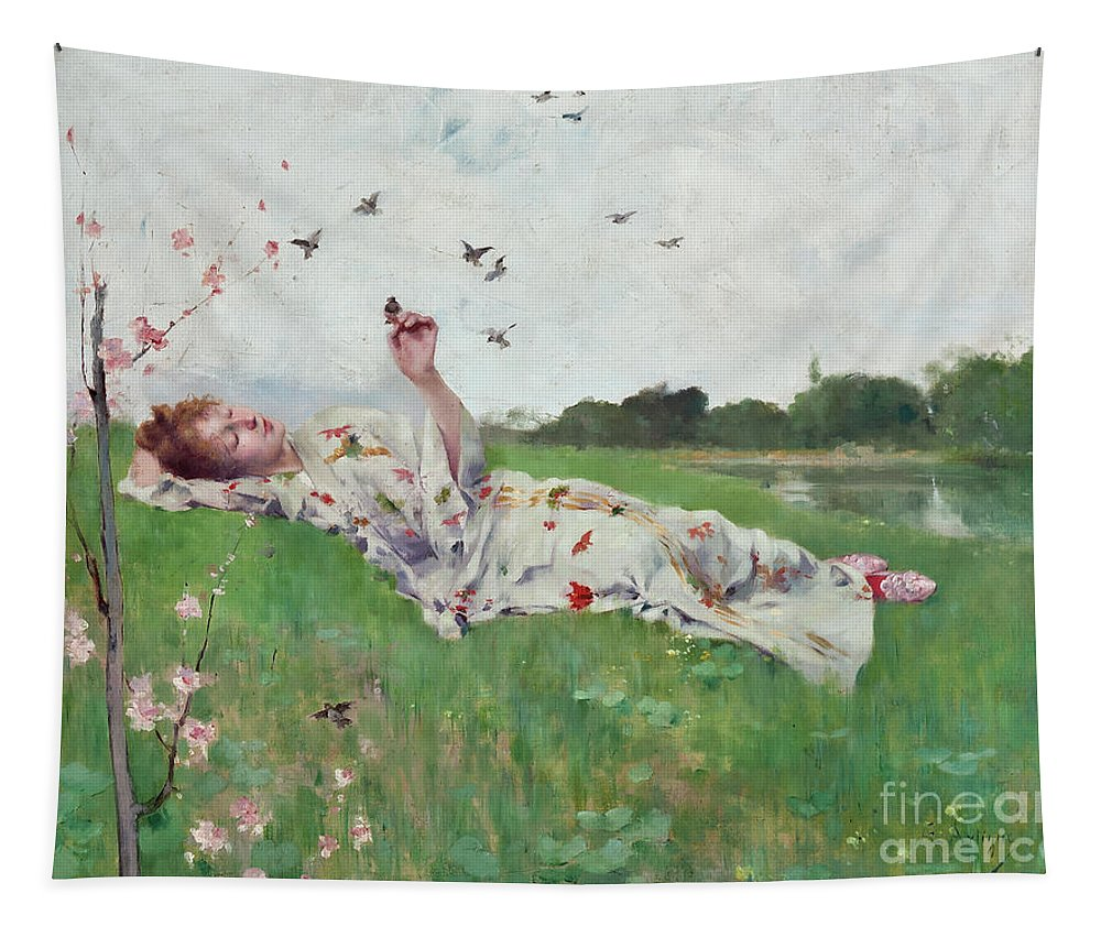 Songbirds Tapestry featuring the painting Songbirds by Albert-Emile Artigue