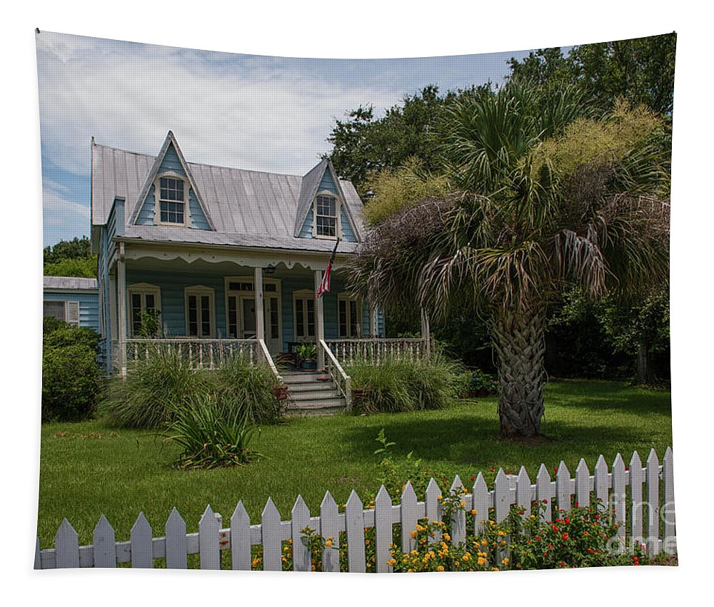 Cottage Tapestry featuring the photograph Southern Coastal Tin Roof Cottage by Dale Powell