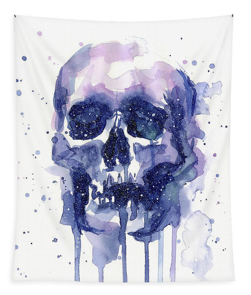 Galaxy Tapestry featuring the painting Space Skull by Olga Shvartsur