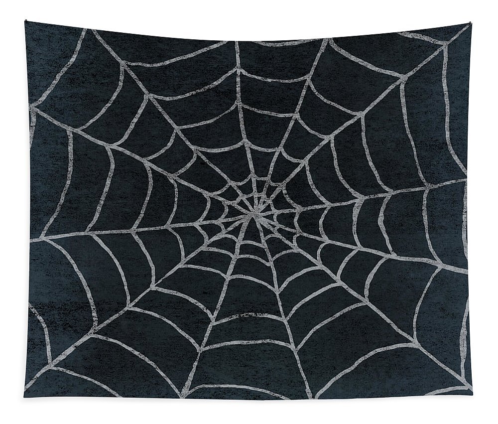 Spider Tapestry featuring the mixed media Spider Web by Elizabeth Medley