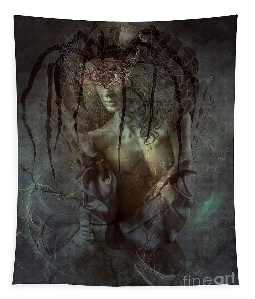 Fantasy Tapestry featuring the digital art Spiderella by Ali Oppy