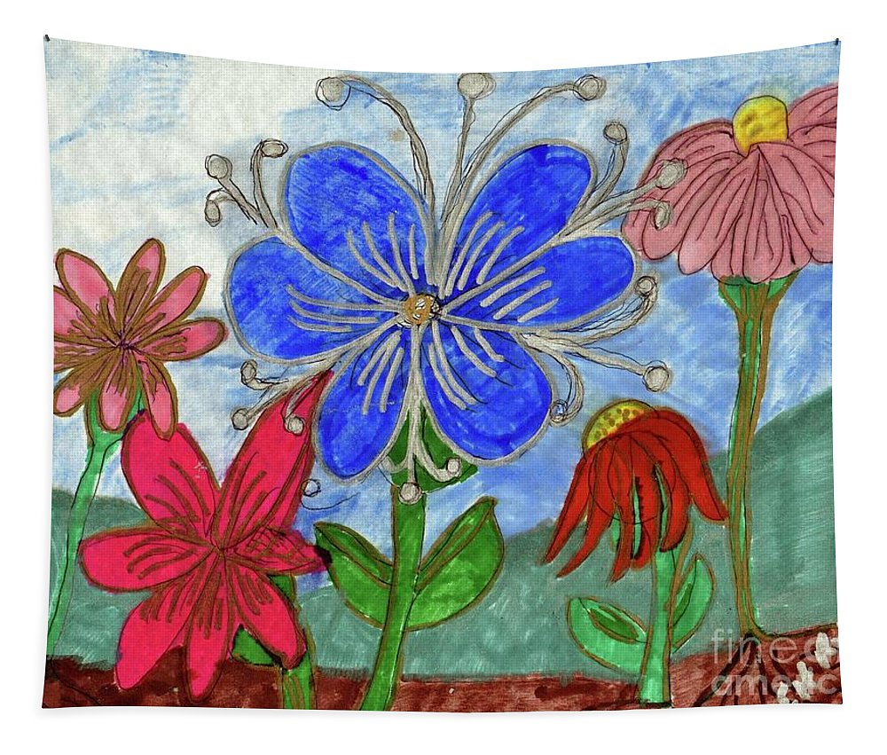 Blue Pink Red Flowers Tapestry featuring the mixed media Spring Garden by Elinor Helen Rakowski